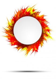 Banner autunno luminoso e colorato con cornice rotonda su spruzzi di vernice vivida