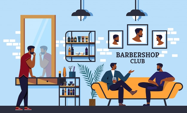 Banner barbershop club che tutti puliscono la barba