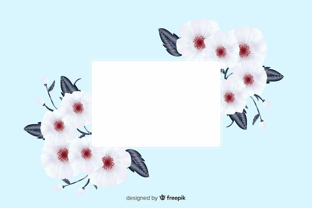 Banner bianco realistico con cornice floreale