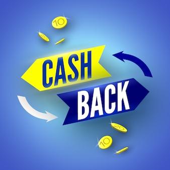 Banner blu cash back con monete. illustrazione.