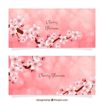 Banner bokeh con fiori di ciliegio decorativi