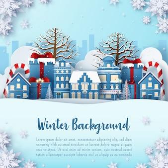 Banner cartolina invernale della città con nevica