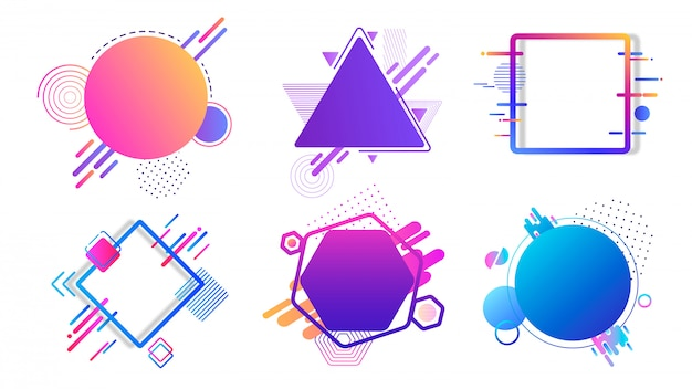 Banner colorati diverse forme geometriche. cerchio blu astratto di esagono di immagini grafiche.