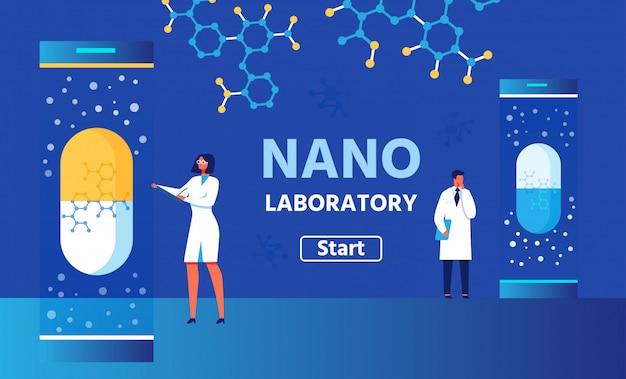 Banner colore laboratorio nano con pulsante start. vector ricercatori uomo e donna