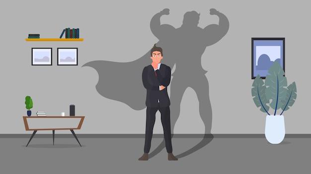 Banner commerciali. concetto di super uomo d'affari. uomo d'affari con l'ombra del supereroe. fiducioso giovane uomo elegante.