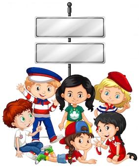 Banner con bambini e segno