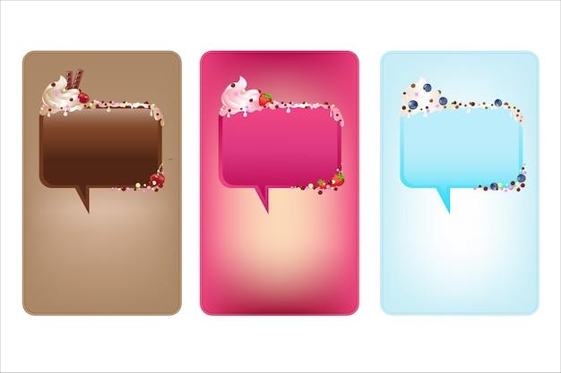Banner con bolle di discorso con gelato, su sfondo bianco, illustrazione