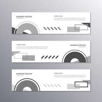 Banner con design minimal monocromatico, memphis geometrici cool