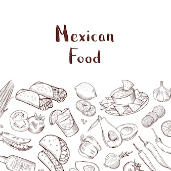 Banner con elementi cibo messicano abbozzato con posto per il testo