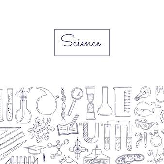Banner con elementi di scienza o chimica abbozzati