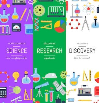 Banner con icone di scienza di stile piano