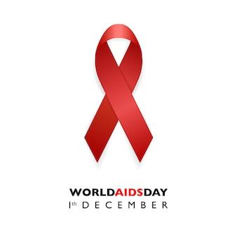 Banner con nastro rosso consapevolezza consapevolezza. aids day concept.