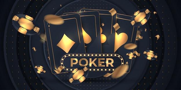 Banner con quattro assi e diverse carte da gioco sul retro