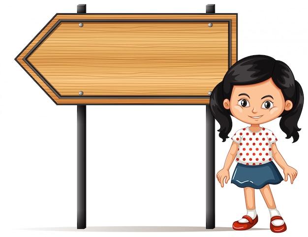 Banner con ragazza di cartello in legno