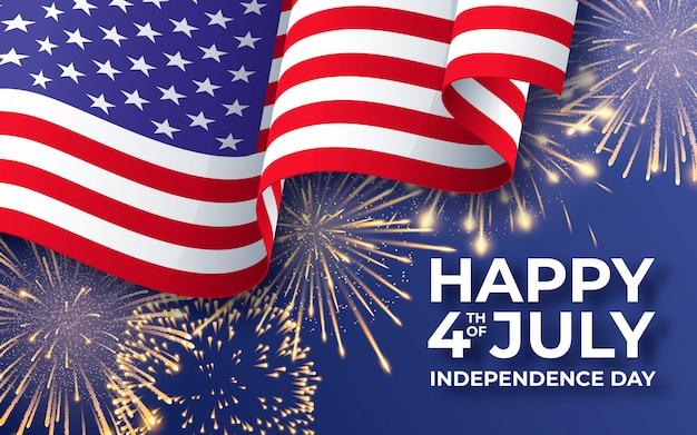 Banner con sventolando la bandiera nazionale americana e fuochi d'artificio