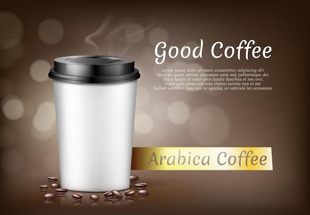 Banner con tazza di caffè arabica per andare e fagioli, contenitore di cartone per bevanda calda
