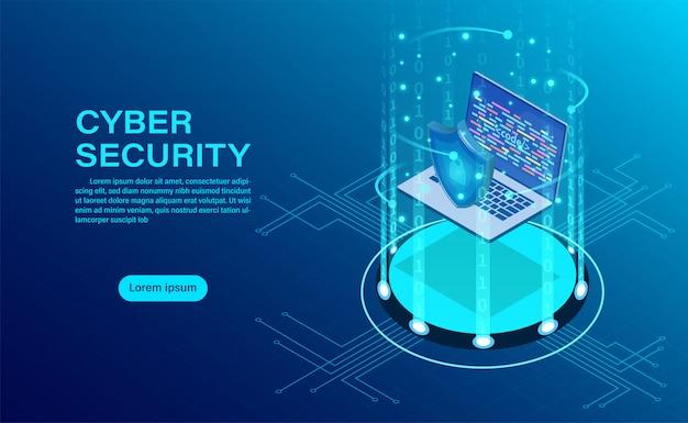 Banner con uomo d'affari proteggere i dati e la riservatezza e il concetto di protezione della privacy dei dati