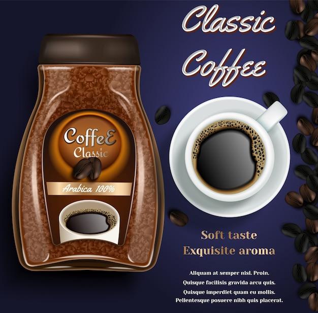 Banner con vaso di caffè istantaneo, tazza di caffè e lo spazio della copia