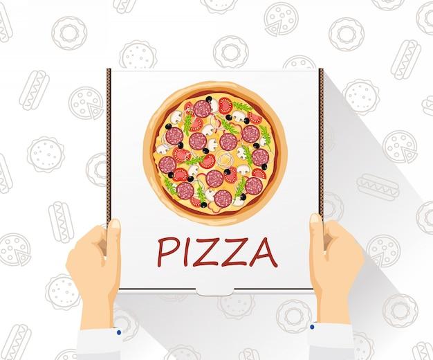 Banner consegna cibo consegna pizza stile piatto, vista dall'alto