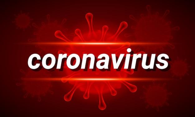 Banner covid-19 con testo coronavirus e cellula molecolare