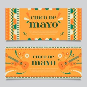 Banner creativi cinco de mayo con dettagli