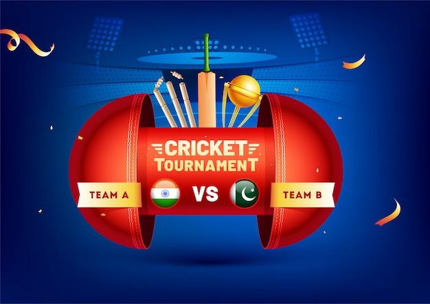 Banner creativo con elementi di cricket