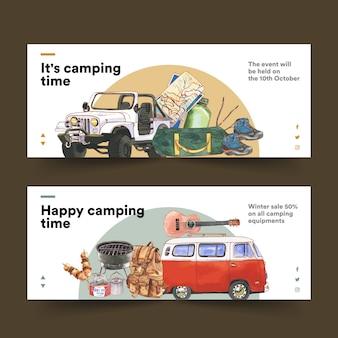 Banner da campeggio con furgone, chitarra, scarponcini da trekking e illustrazioni di zaini