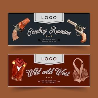 Banner da cowboy con revolver, vestito da cowboy