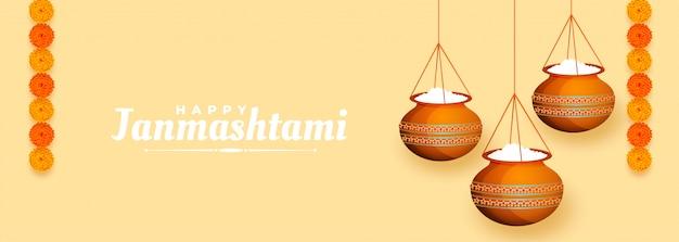 Banner dahi handi makkhan da appendere per il festival janmashtami