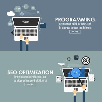 Banner dal design piatto per programmazione e ottimizzazione seo. immagine vettoriale.