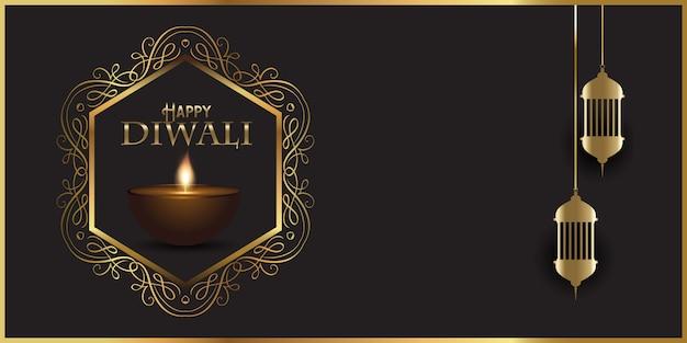 Banner decorativo design per diwali con lampade indiane