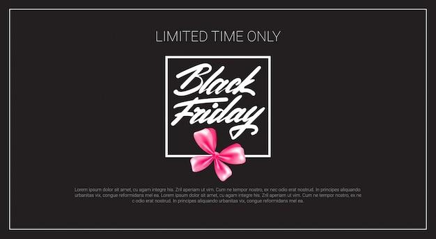 Banner del black friday con fiocco in nastro rosa