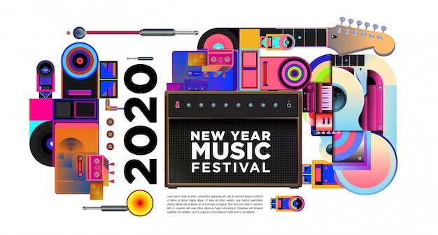 Banner del festival musicale per la festa e l'evento del nuovo anno 2020