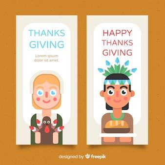 Banner del giorno del ringraziamento con simpatici personaggi