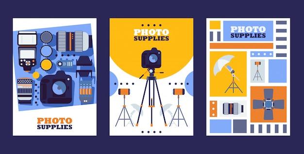 Banner del negozio di attrezzature fotografiche negozio di accessori fotografici