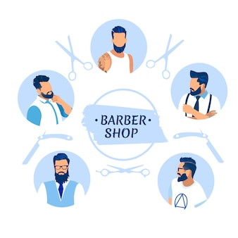 Banner del negozio di barbiere con personaggi di uomini diversi