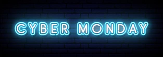 Banner del neon cyber monday.