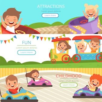 Banner del parco divertimenti. la famiglia e i bambini felici che camminano e che giocano nelle attrazioni differenti vector il modello del fumetto