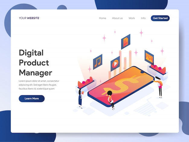 Banner del product manager digitale della landing page