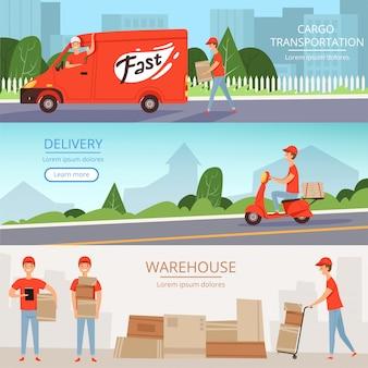 Banner del servizio di consegna. lavoratori del magazzino del carico pizza e cibo uomo di consegna sul trasporto moto van rosso. modello di banner