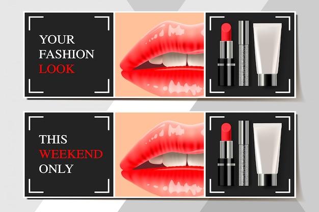 Banner del sito web. fiamme di annunci di prodotti cosmetici alla moda, illustrazione