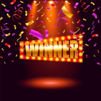 Banner del vincitore, vincitore dei nastri che cadono. vincitore del premio jackpot della lotteria