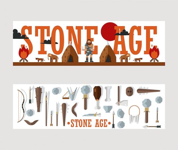 Banner dell'età della pietra, illustrazione per brochure del museo, libro di storia o articolo di archeologia.
