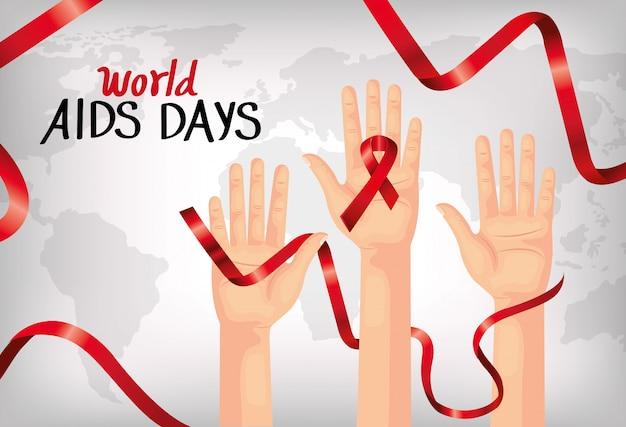 Banner della giornata mondiale dell'aids con le mani e il nastro