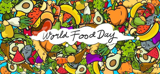 Banner della giornata mondiale dell'alimentazione. vari alimenti, frutta e verdura