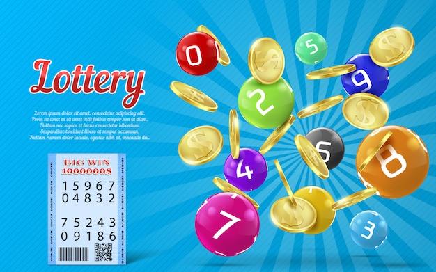 Banner della lotteria con monete d'oro realistici, palline colorate con numeri