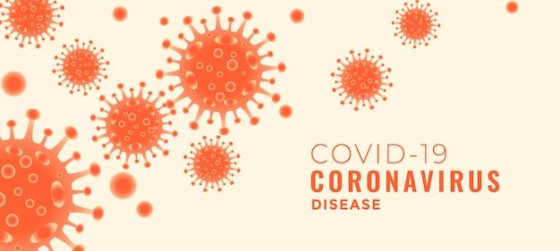 Banner della malattia del coronavirus covid-19 con virus fluttuanti