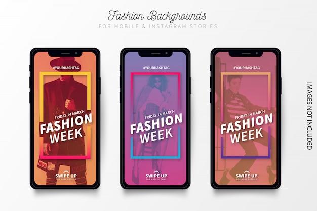 Banner della settimana della moda moderna per storie di instagram