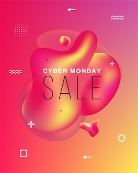 Banner delle vendite. black friday, cyber monday e autumn sale. forme colorate liquide. elementi grafici moderni astratti sul buio. .