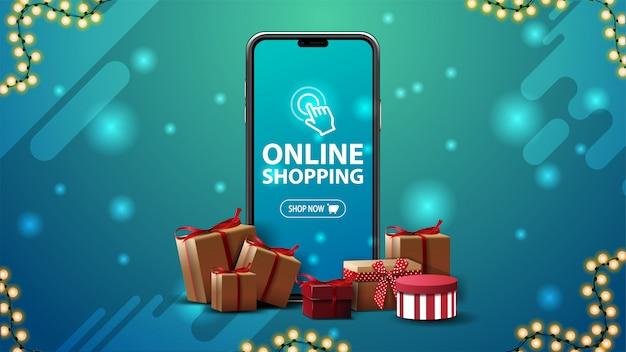 Banner dello shopping online con un grande smartphone con scatole di regali intorno su sfondo blu